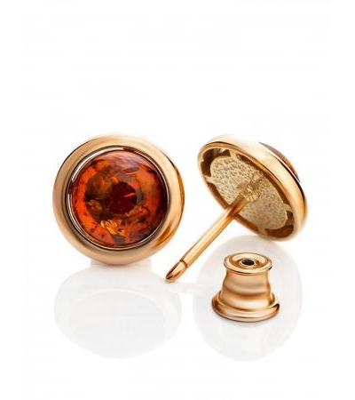 """Bright earrings """"Berry"""" made of gilded silver and cognac amber"""