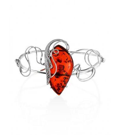 """Beautiful bracelet """"Wing"""" with sparkling cognac-colored amber"""