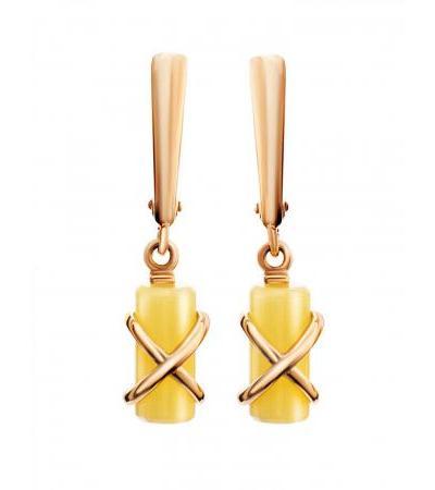 "Stylish earrings made of gold and honey amber ""Scandinavia"""