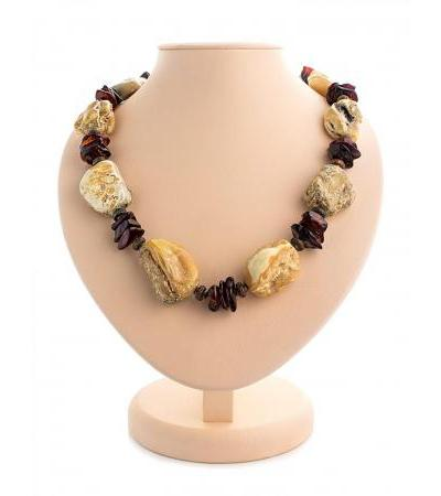 """Spectacular large necklace """"Indonesia"""" made of natural solid amber"""