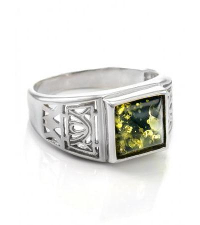 """Silver ring for men, decorated with natural green amber """"Caesar"""""""
