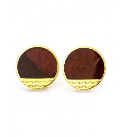 """Stylish round earrings-studs made of gilded silver and amber """"Monaco"""" Amber®"""
