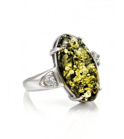 """Silver ring with an insert made of natural amber """"Penelope"""""""