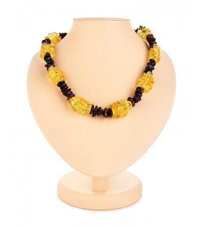 "Beautiful necklace of amber lemon and cherry flowers ""Pigtail"""