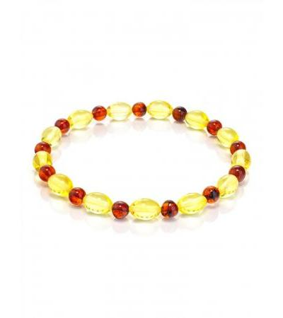 Bracelet made of natural Baltic amber in different shades