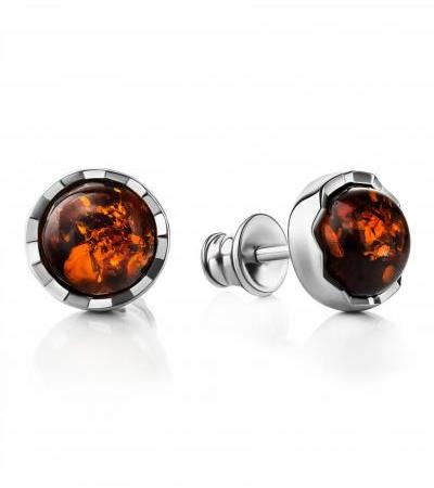 """Miniature earrings-studs made of silver with amber cognac color """"Camelot"""""""