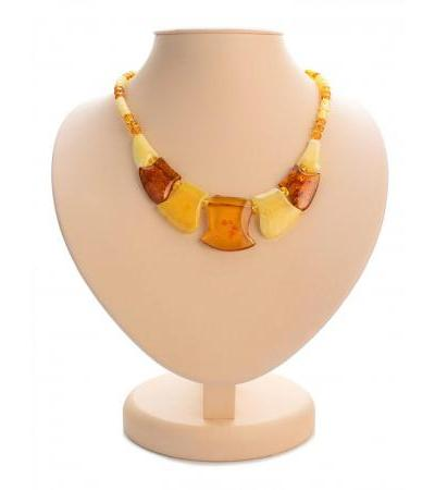 """Spectacular """"Medusa"""" necklace made of natural Baltic amber of different shades"""