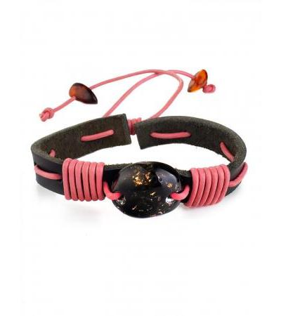 Black leather bracelet entwined with a pink cord and decorated with Copacabana amber