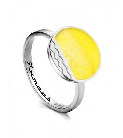 """Bright ring """"Monaco"""" Amber® made of silver and honey amber"""