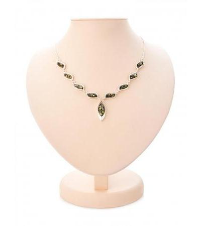 """Delicate silver necklace with green amber """"Tilda"""""""