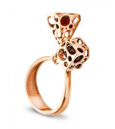 "Charming ring made of gilded silver and natural amber ""Geneva"""
