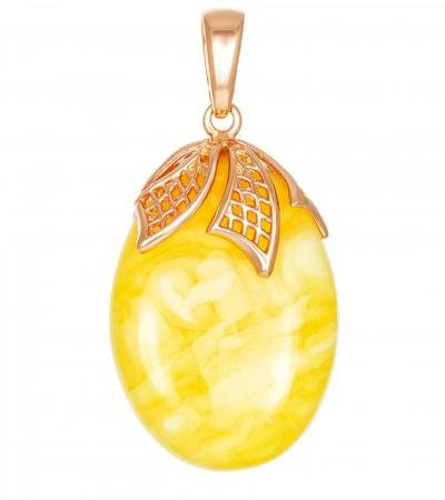 """Pendant made of natural honey amber and silver with gilding """"Versailles"""""""