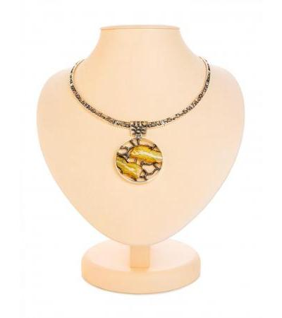 "Luxurious ""Modern"" necklace made of silver with natural landscape amber"