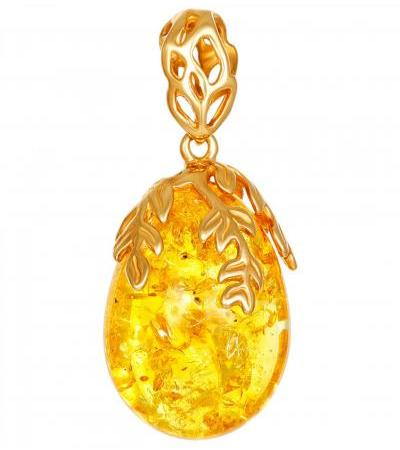 """Small pendant """"Versailles"""" from solid amber and silver with gilding"""