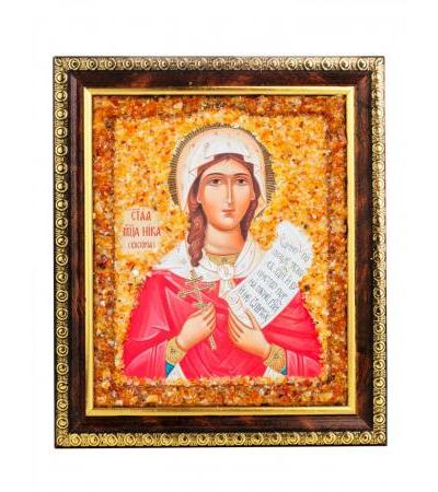 """Nominal icon decorated with natural amber """"Holy Martyr Nika (Victoria)"""""""
