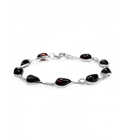"""Bright bracelet """"Orpheus"""" made of silver and natural cherry amber"""