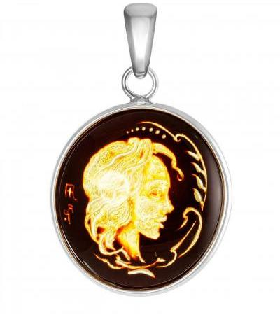 """Graceful silver pendant with natural amber with carving """"Elinor"""""""