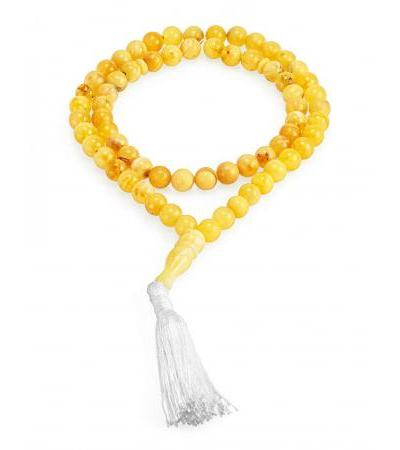 Muslim rosary on 66 beads-balls made of natural amber