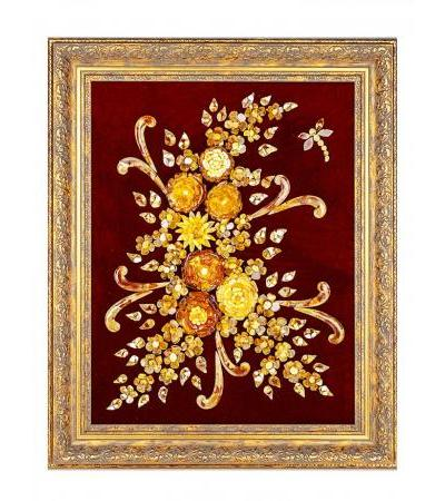 """A bright picture of natural Baltic amber on cherry velvet """"Bouquet with a dragonfly"""""""