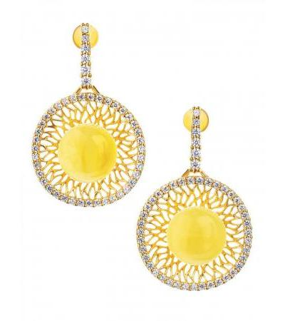 """Luxurious gold-plated earrings with natural amber and zircons """"Venus"""""""