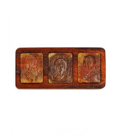 Set of three carved amber wood carved icons