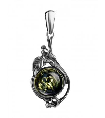 "Exquisite pendant made of blackened silver with green amber ""Sylvia"""