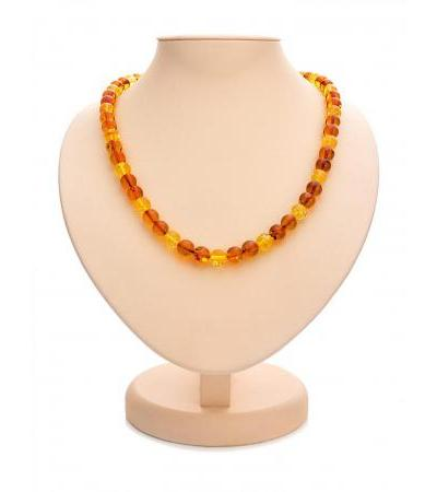 "Elegant amber beads ""Ball two-color"""