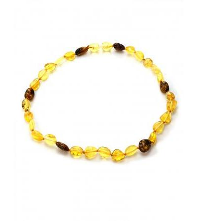 """Children's necklace from lemon and cognac amber """"Olive"""" for children"""