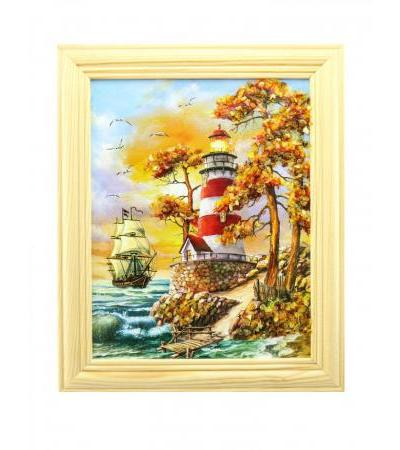 """""""By the lighthouse"""". Small vertically oriented painting decorated with amber"""