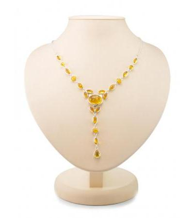 """Delicate necklace """"Josephine"""" made of silver with natural Baltic amber of lemon color"""