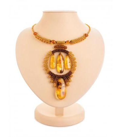 "Original necklace on a string from beads and natural amber ""Lukomorye"""