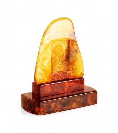 """Carved icon on solid amber """"Our Lady of Igorevskaya"""""""