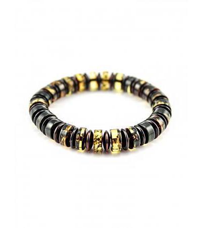 """Bracelet made of natural solid amber """"Caramel washers"""""""