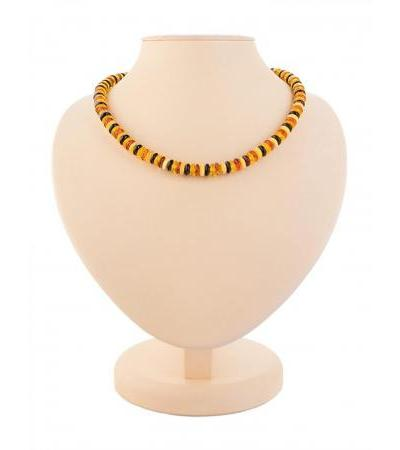 """Stylish beads made of natural amber of three colors """"Caramel colorful"""""""