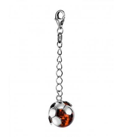 """League"" Silver keychain with natural amber in the shape of a soccer ball"