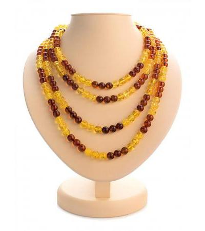 "Spectacular beads made of natural Baltic amber in two colors ""Lemon and cognac ball"""