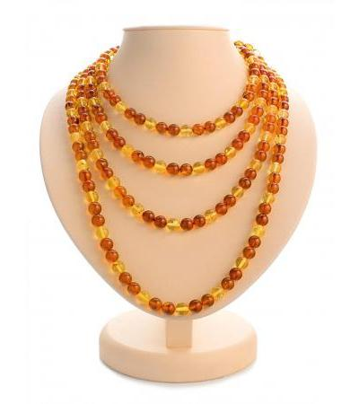 "Beads ""Sphere contrasting"" from natural solid amber in two colors"