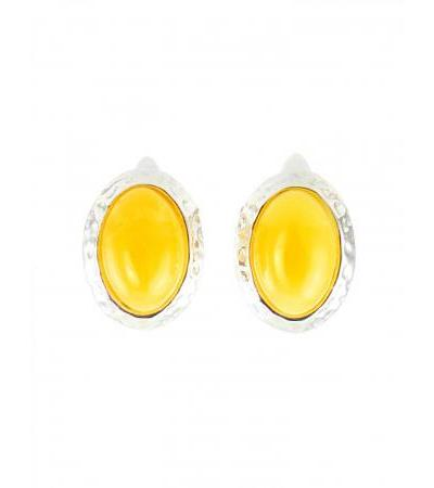 """Amber earrings of honey-colored oval shape in a silver frame """"Cameo"""""""