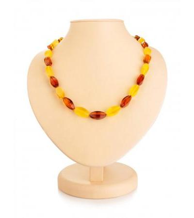"Stylish beads from natural solid amber ""Alyonka"""