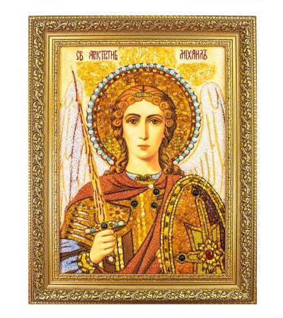 """Amber icon decorated with pearls and gems """"Archangel Michael"""""""