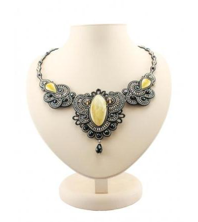 """Openwork braided necklace with inserts of natural milky white amber """"India"""""""