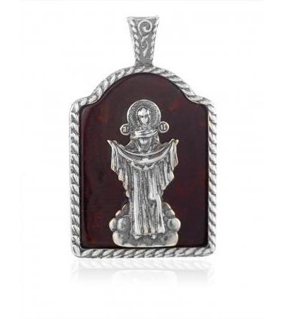 «Богоматерь Покрова». Серебряная подвеска-образок из вишнёвого янтаря