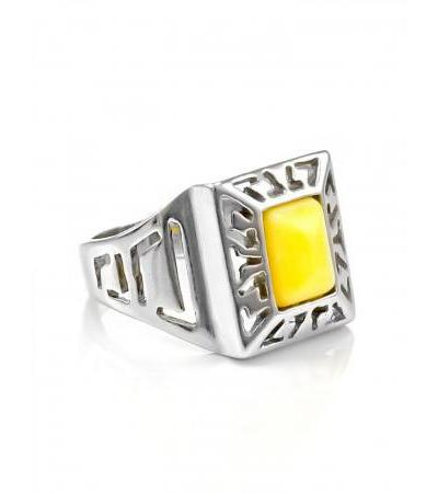 """Stylish ring """"Ithaca"""" made of silver with natural honey-colored amber"""