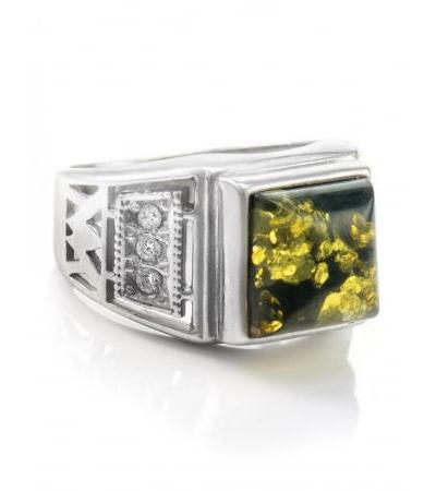 """Square ring in silver with natural amber and zircons """"Caesar"""""""