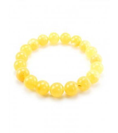 "Bracelet made of natural amber ""Matte ball"" light honey shade"