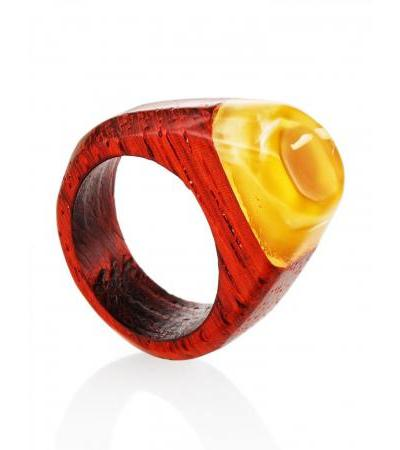 """Ring in ethnic style from natural Baltic amber and paduk wood """"Indonesia"""""""