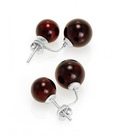 """Charming earrings-jackets """"Paris"""" from natural cherry amber and silver"""