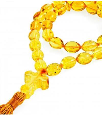 """Orthodox prayer beads made of natural amber """"Lemon olives"""""""