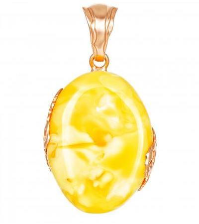 Крупная подвеска из натурального балтийского янтаря в золочёном серебре «Версаль»
