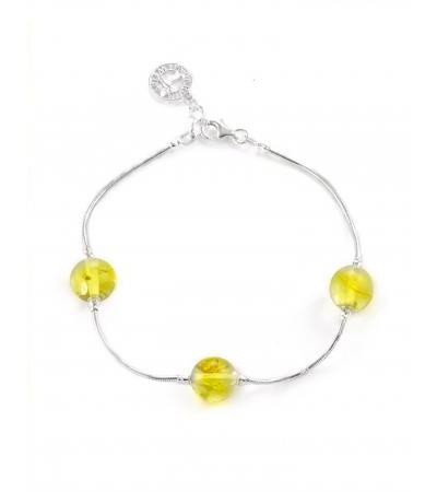 """Exquisite silver bracelet with balls of spacers made of natural lemon amber """"Olympia"""""""